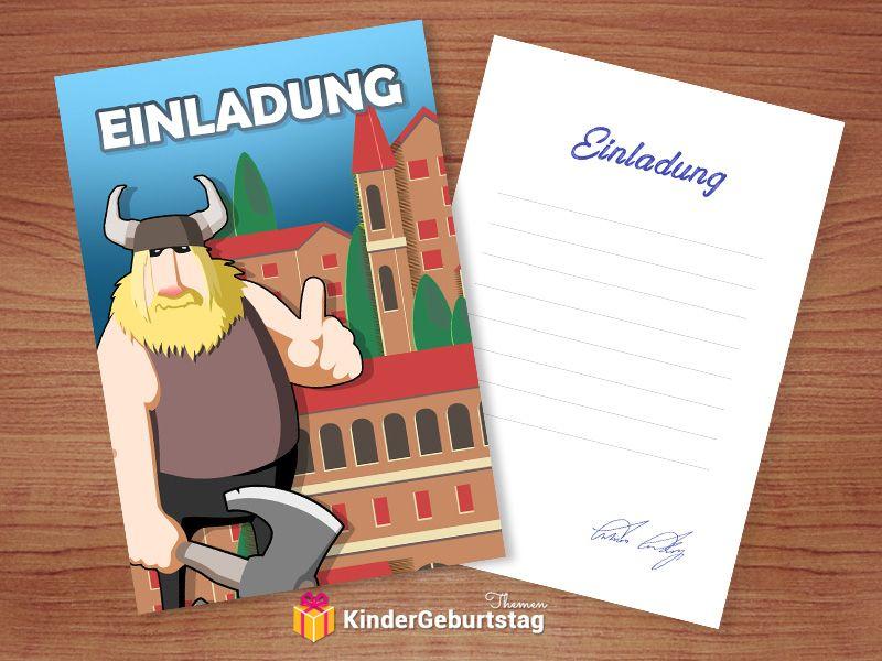 Einladungskarte Im Wikinger Design Basteln Kindergeburtstag