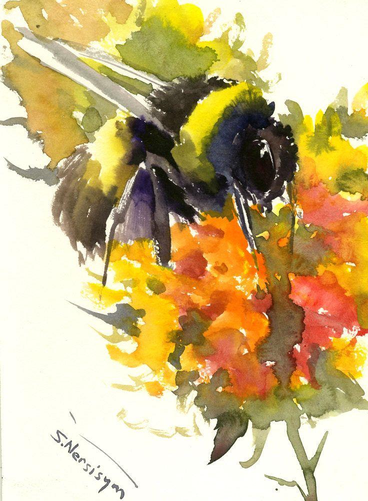 Bumblebee on Flowers orange yellow red Original watercolor painting ...