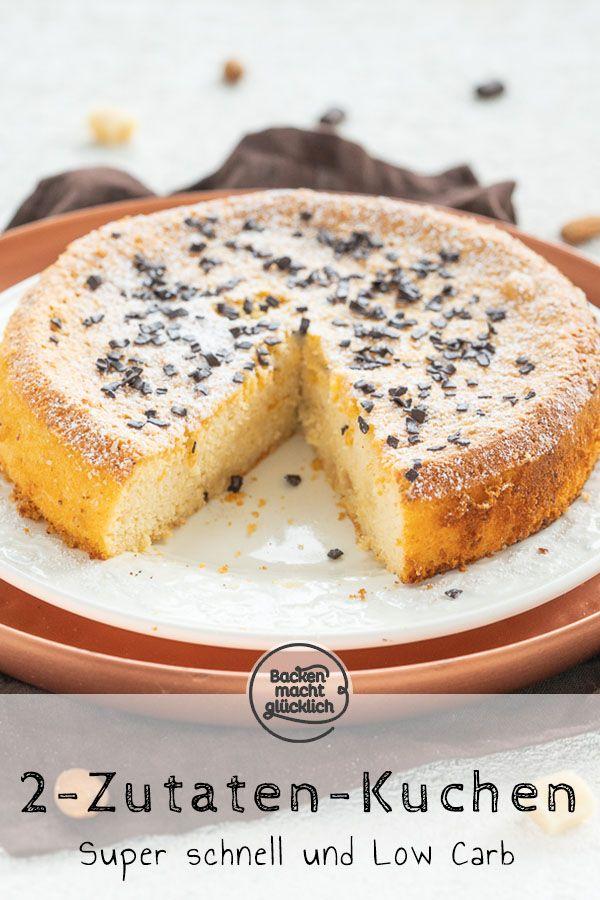 Ein toller 2-Zutaten-Kuchen, der wirklich nur aus Eiern und Marzipan besteht! Der schnelle Kuchen wird super saftig, fluffig und extrem schnell gemacht. Der 2-Zutaten-Marzipankuchen ist auch low carb ohne Zucker möglich.  #marzipankuchen #2zutaten #glutenfrei #backenmachtglücklich