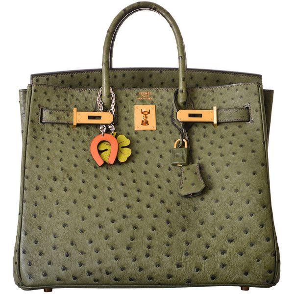 Preowned Hermes Birkin Bag Hac 32cm Vert Veronese Ostrich Gold... (74.825 BRL) ❤ liked on Polyvore featuring bags, handbags, multiple, crocodile purse, mini handbags, green purse, croc handbags and green croc handbag
