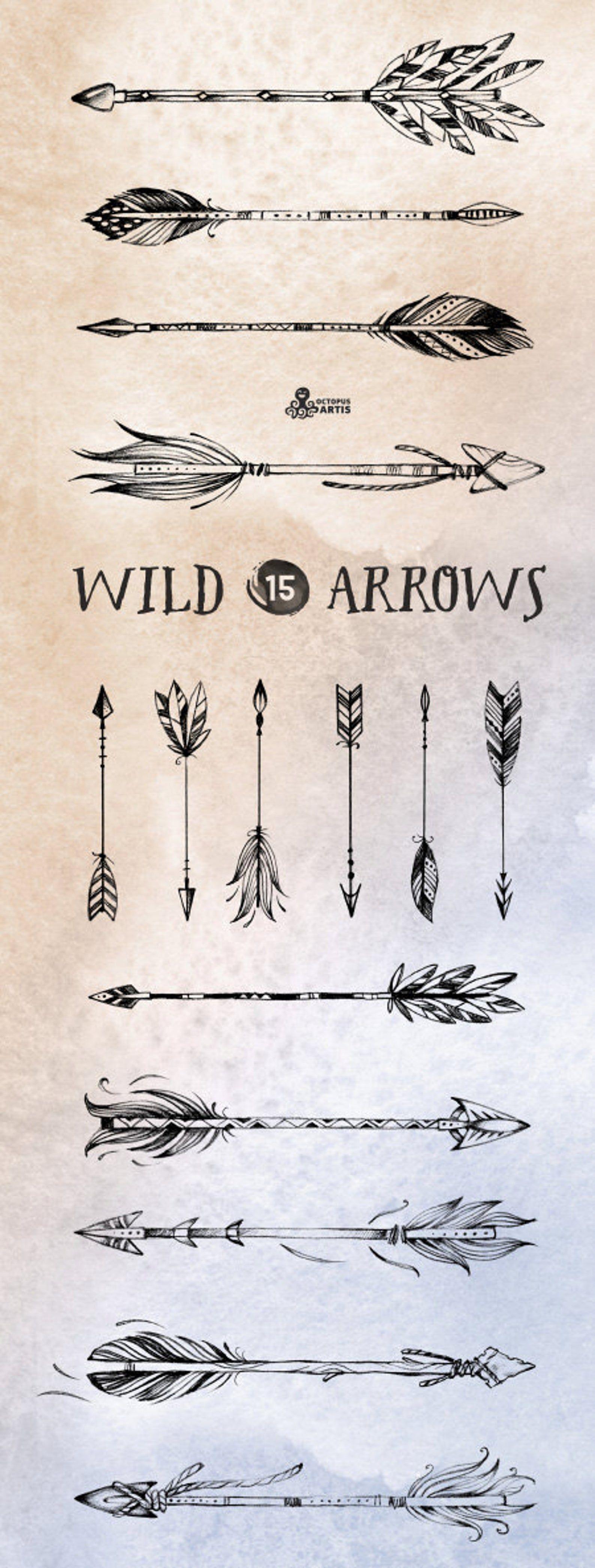 Wild Arrows. 15 hand drawn Clipart. Tribal native diy | Etsy