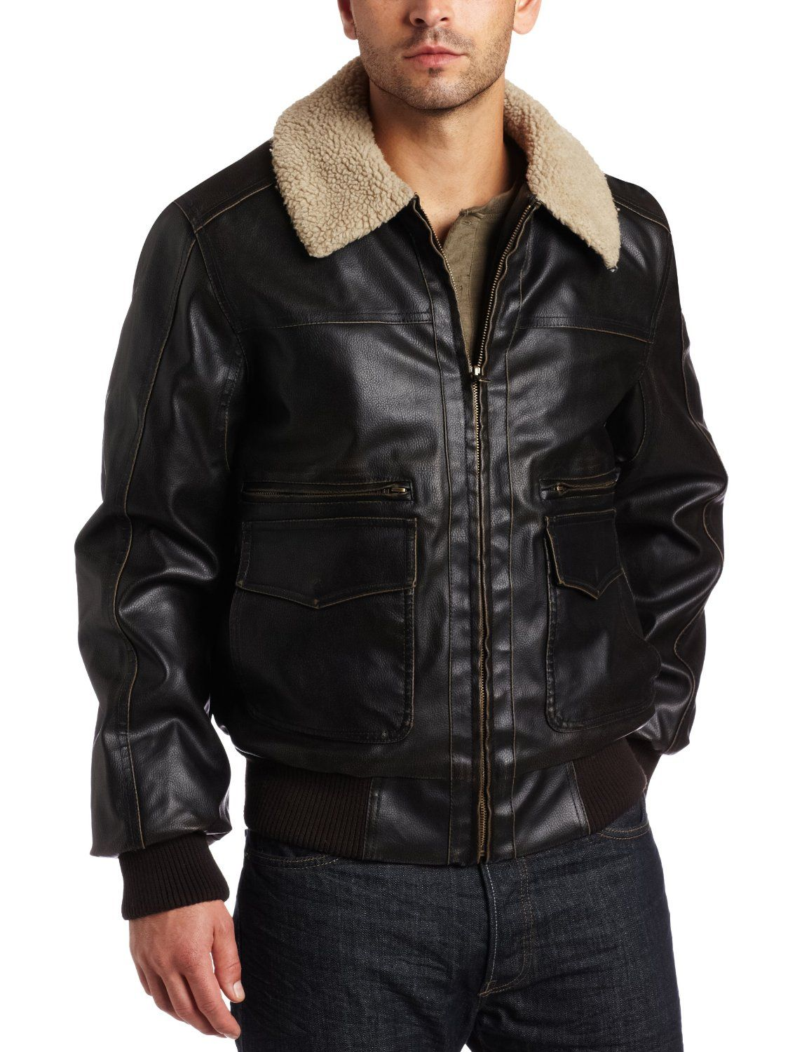 arrow mens faux leather aviator bomber jacket.jpg (1154×1500 ...