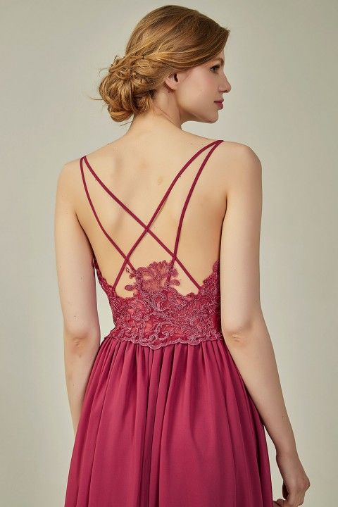 e965fffac52 Straps lace detail long bridemaid dress sexy for sale bridesmaid dresses on  a budget  bridesmaiddresses red lace dress