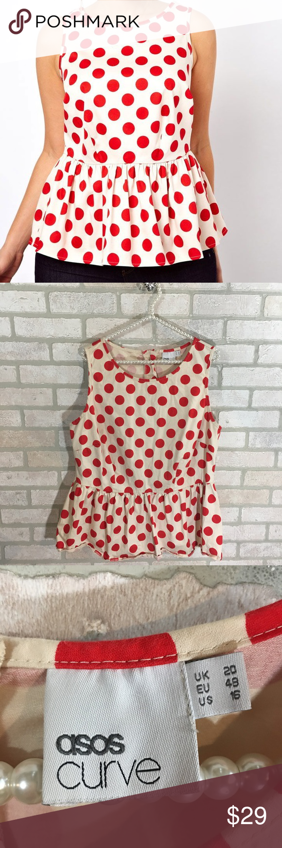 7e1d8c9ffcf4c ASOS Curve Polka Dot Peplum Top Size  16 97% cotton 3% elastane Sleeveless  Zips up the back White background with red polka dots Peplum Top Approx ...