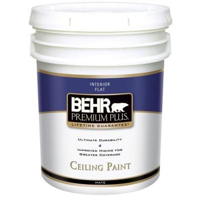 Behr Premium Plus 5 Gal Ultra Pure White Ceiling Flat Interior