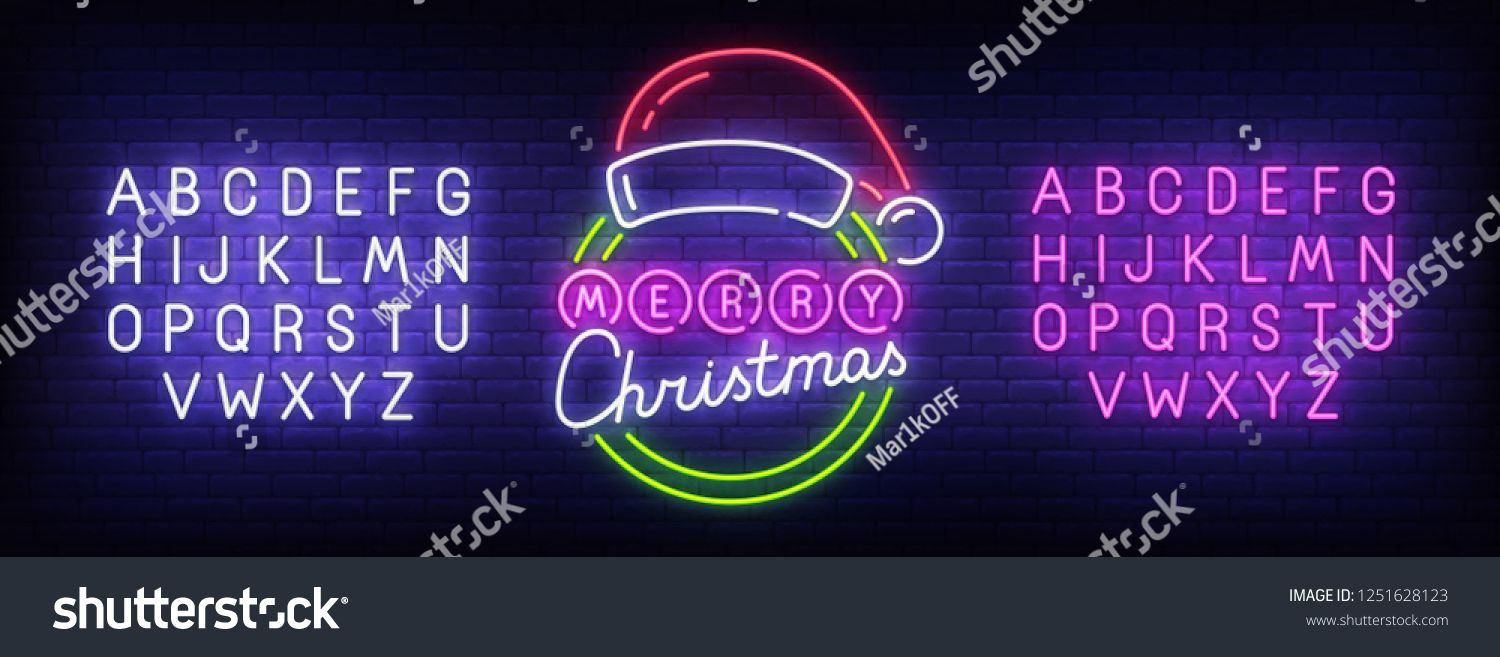 Merry Christmas neon sign, bright signboard, light banner