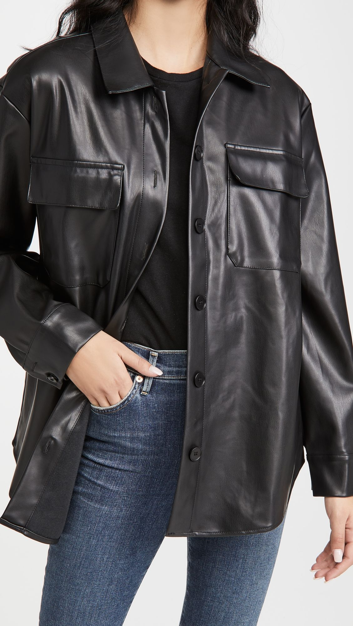 Re Named Faux Leather Shacket Leather Jacket Outfits Jacket Outfits China Fashion [ 2000 x 1128 Pixel ]