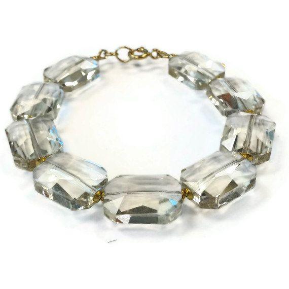 Crystal Beaded Bracelet Couture Smokey by jewelrybycarmal on Etsy, $35.00