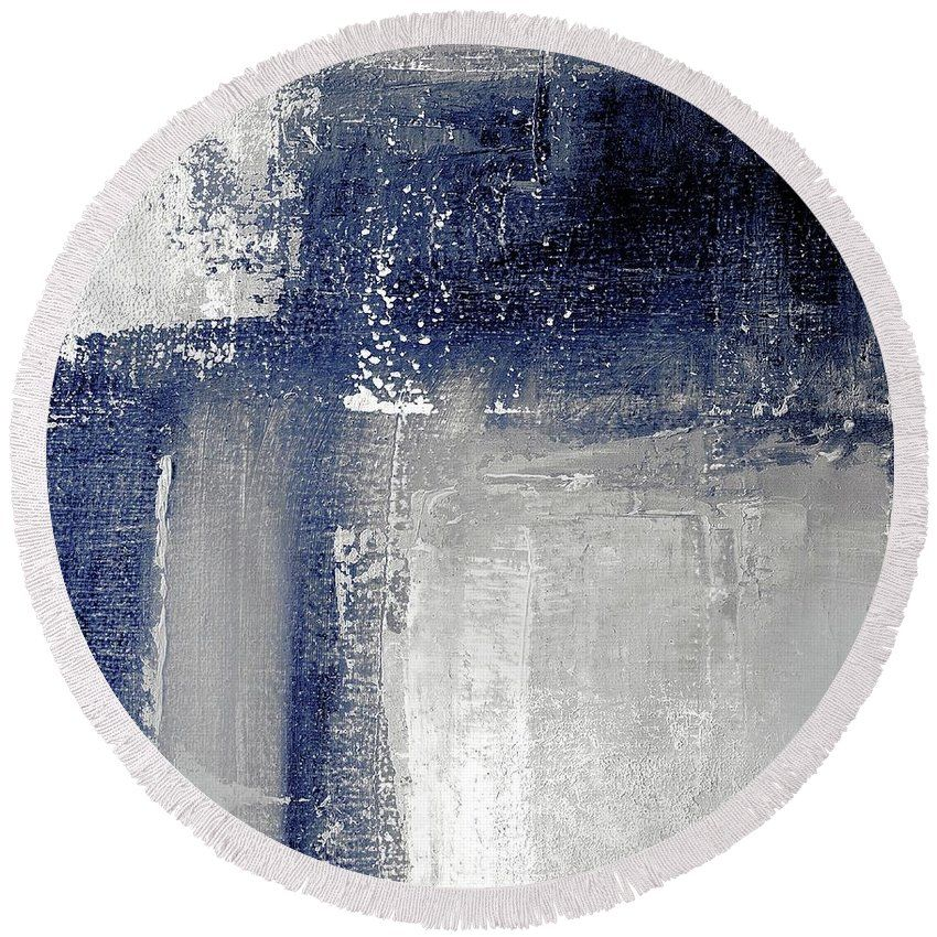 Navy Blue And Grey Abstract Round Beach Towel For Sale By