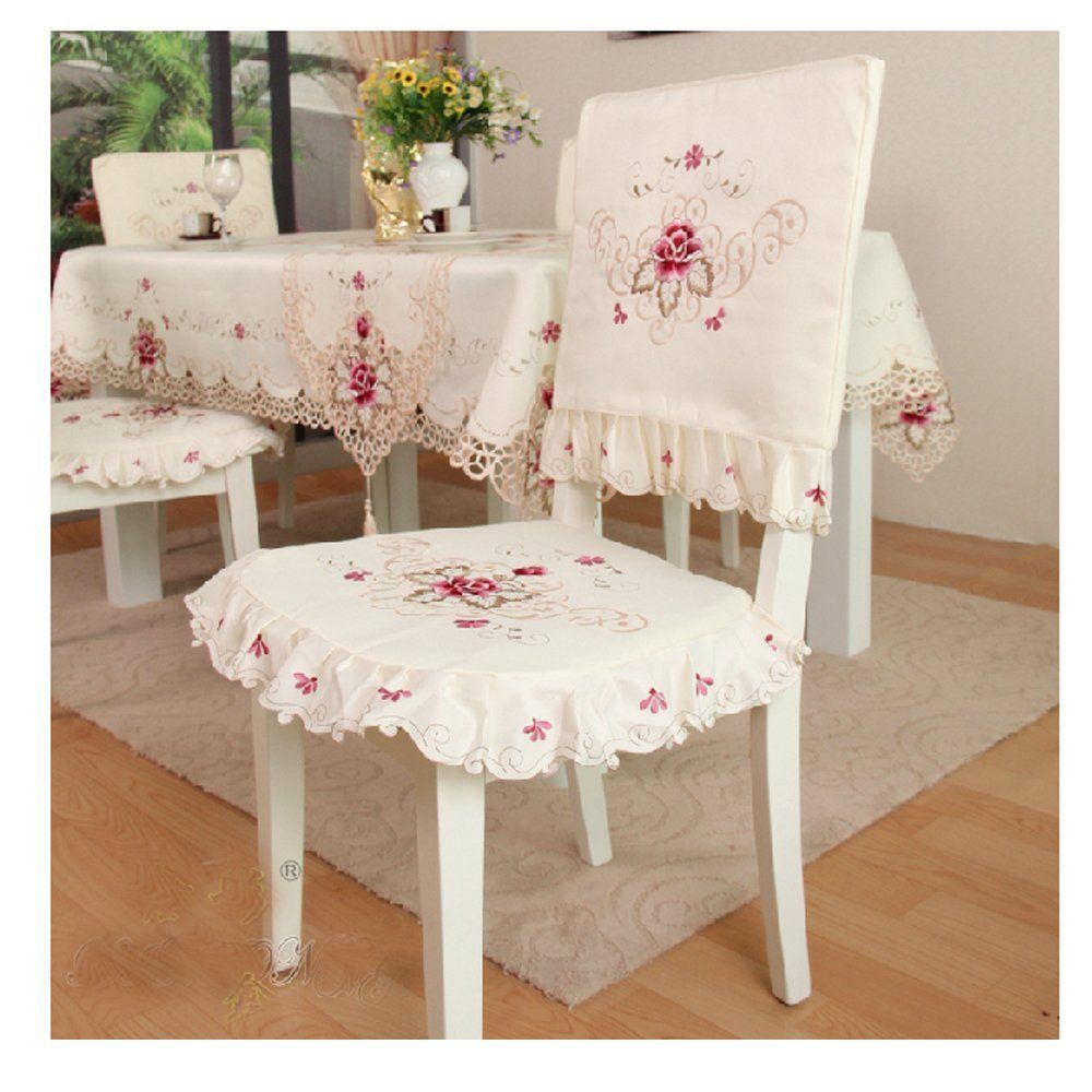 iHappy Rose Flower Embroidered Fabric Cutwork Dining Chair