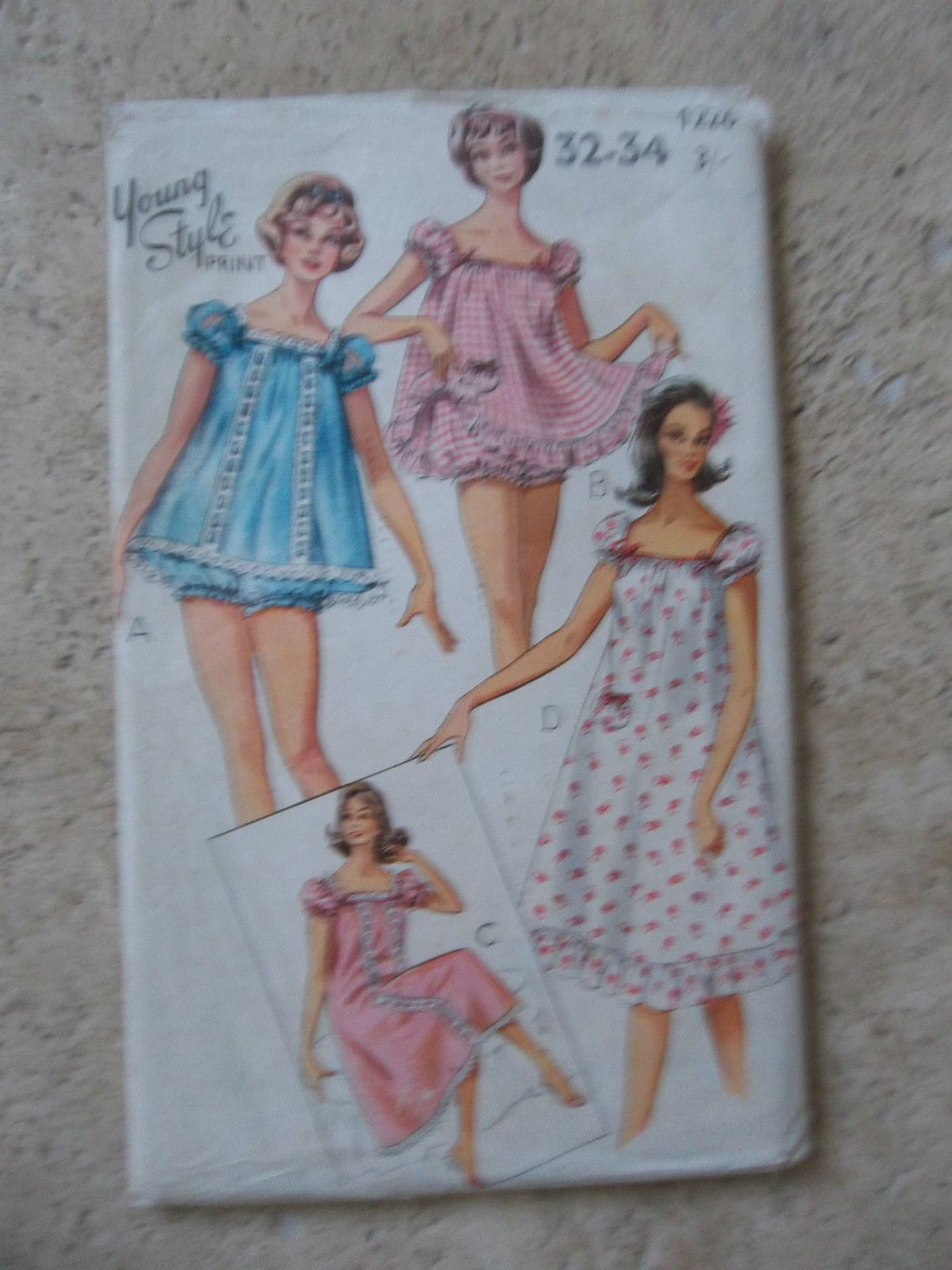 Young Style 1960 s Vintage Sewing Baby Doll   Pyjama Pattern 1226 - Size  31-34  2469e21d5