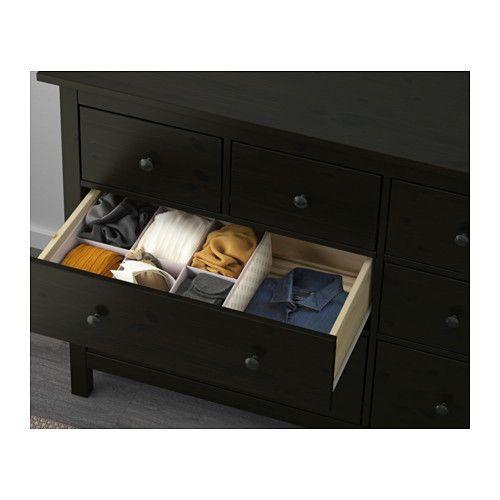 HEMNES Cómoda de 8 cajones - negro-marrón - IKEA