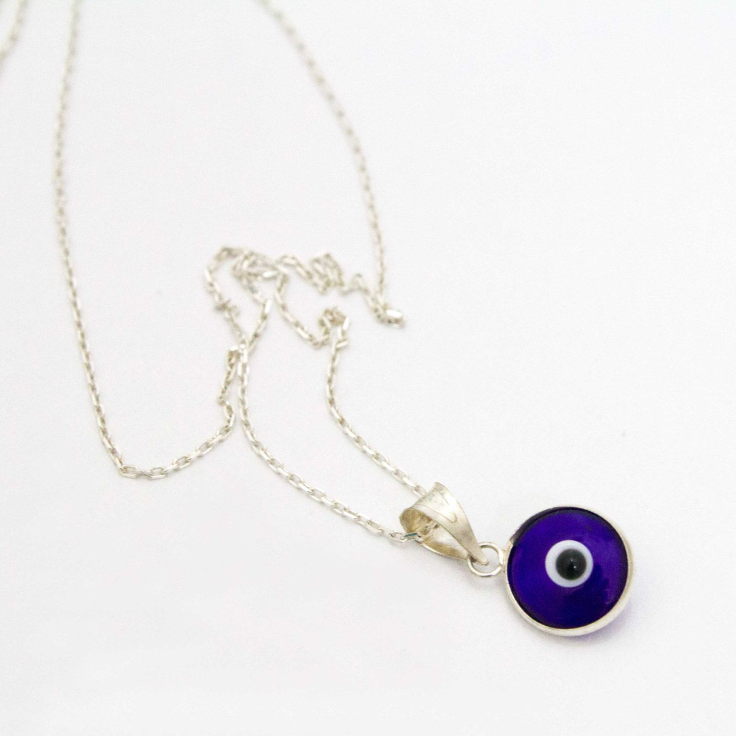 Silver Evil Eye Necklace | Evil Eye Jewelry, Protection Jewelry, Blue Evil Eye, Silver Evil Eye Jewelry, Turkish Evil Eye, Good Luck by Dimenticare on Etsy https://www.etsy.com/listing/246886016/silver-evil-eye-necklace-evil-eye