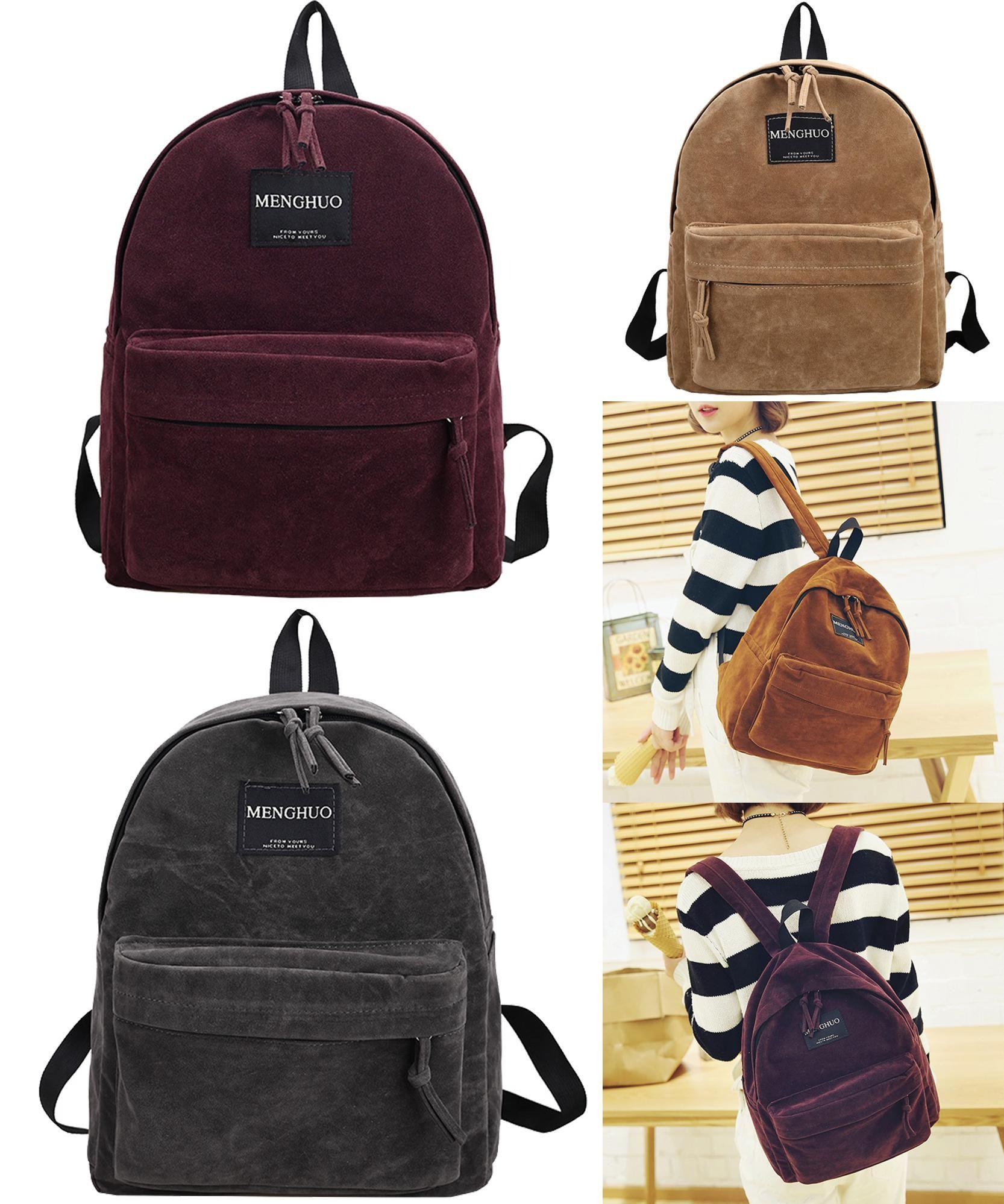 Visit to Buy  Women Backpack Preppy Suede Backpacks Girls School Bags  Vintage Backpack Travel b41d1919ef68f