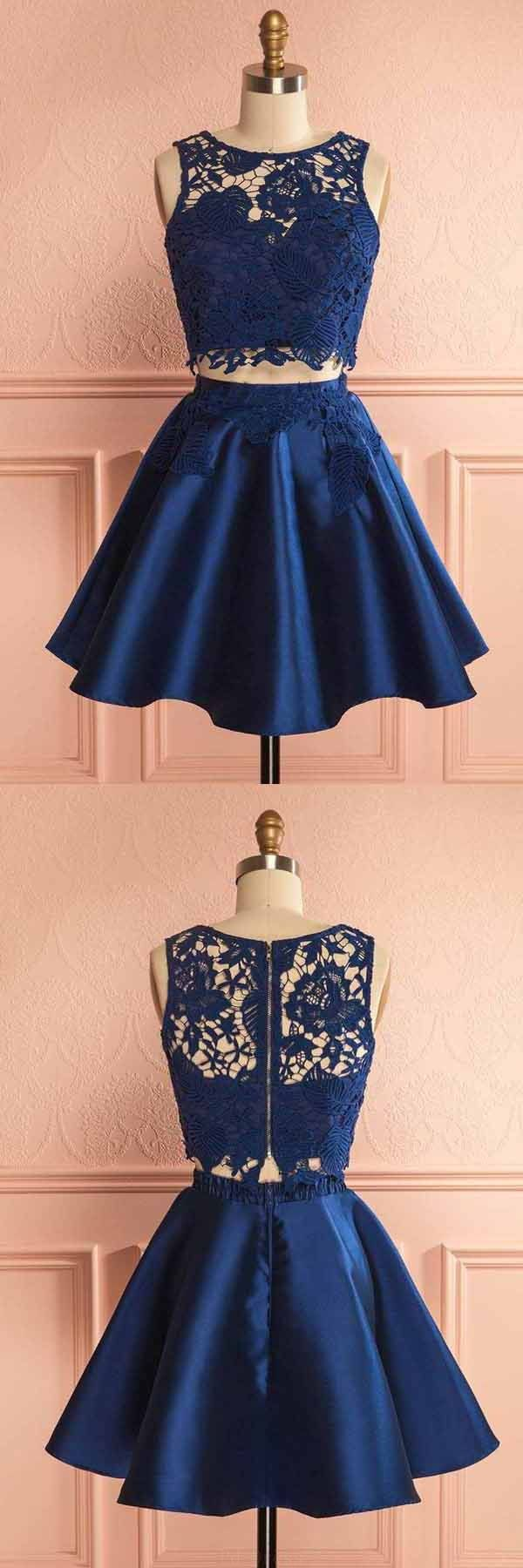 Outlet easy prom dresses short two piece dark blue satin homecoming