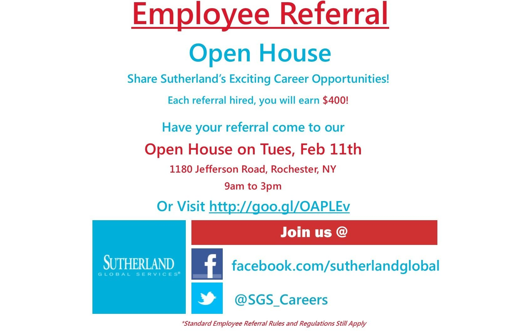 If You Re In Rochester And Are Looking For A Job You Need To Check Out The Sutherland Global Services Open House Come Open House Looking For A Job Sutherland