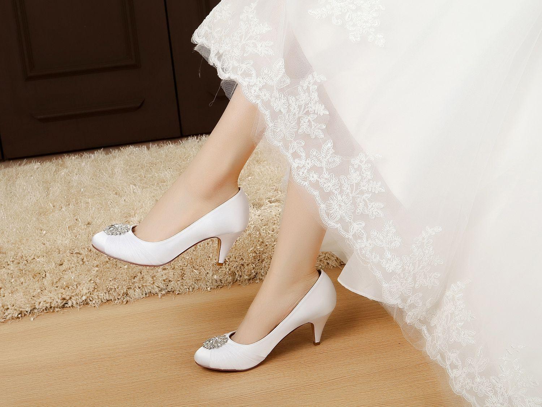 satin rhinestone wedding shoes low heel dress shoes for women ...
