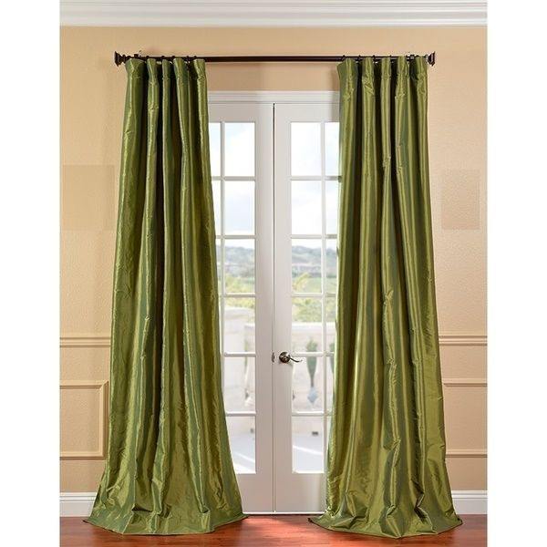 4 Drapes Parrot Green Taffeta Faux Silk Curtains Half Price
