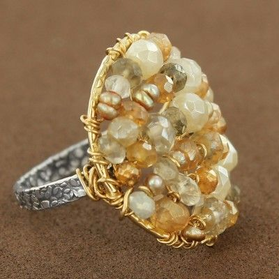 Gold-Filled & Sterling Silver Sunset Rainbow Moonstone, Sapphire & Pearl Round Ring by Michelle Pressler $145.00