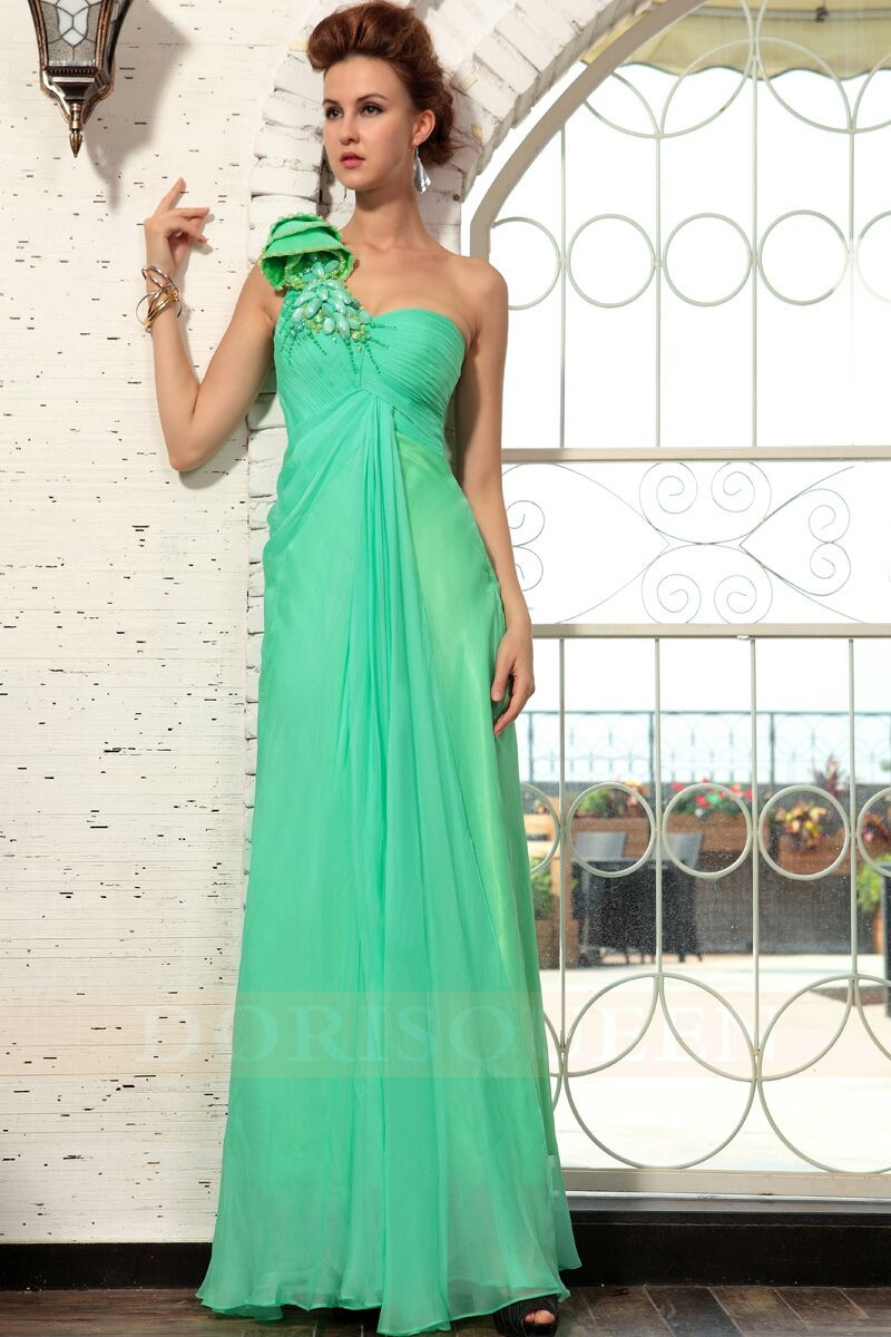 Gorgeous green prom dress  gorgeous one shoulder green Christmas party dresses   Dresses