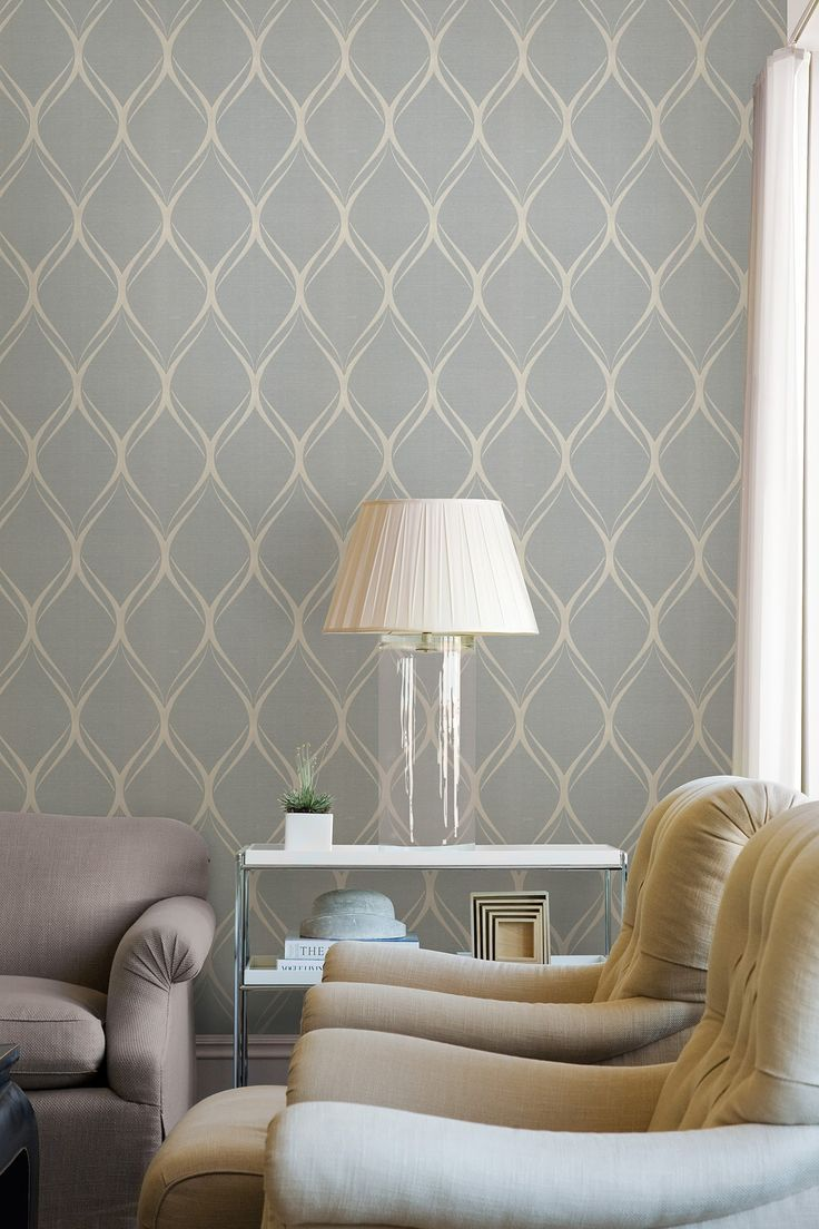 Gustav Grey Geometric Wallpaper Behang woonkamer