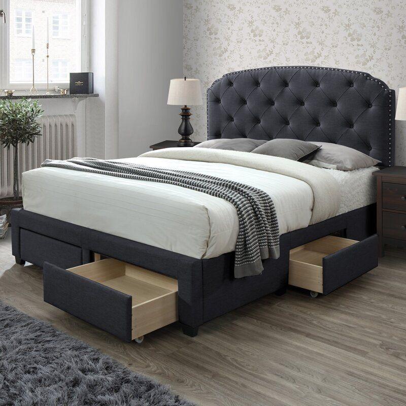 Millicent Upholstered Storage Standard Bed In 2020 Upholstered Storage Storage Bed Bed Frame With Storage