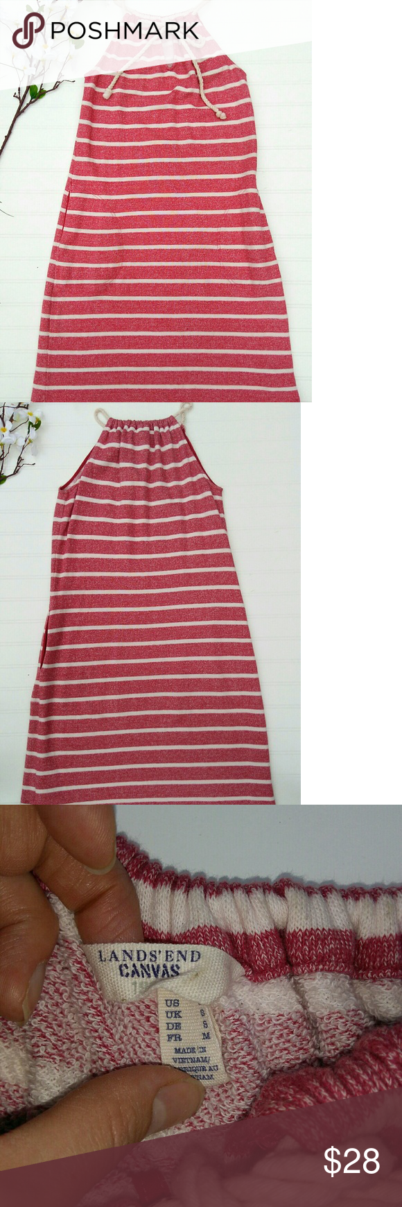 649c269839f Lands End red stripe causal nautical dress sz S Fun red cream striped  nautical dress from Lands end. Size small. Features adjustable rope straps  that tow at ...