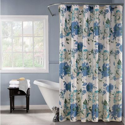 Dainty Home Floral Watercolor Damask Shower Curtain Floral