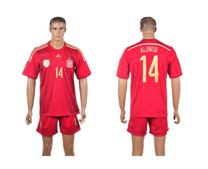 6417e6856 Spain Home 2014 The World Cup Xabi Alonso 14  Red Football Shirt ...