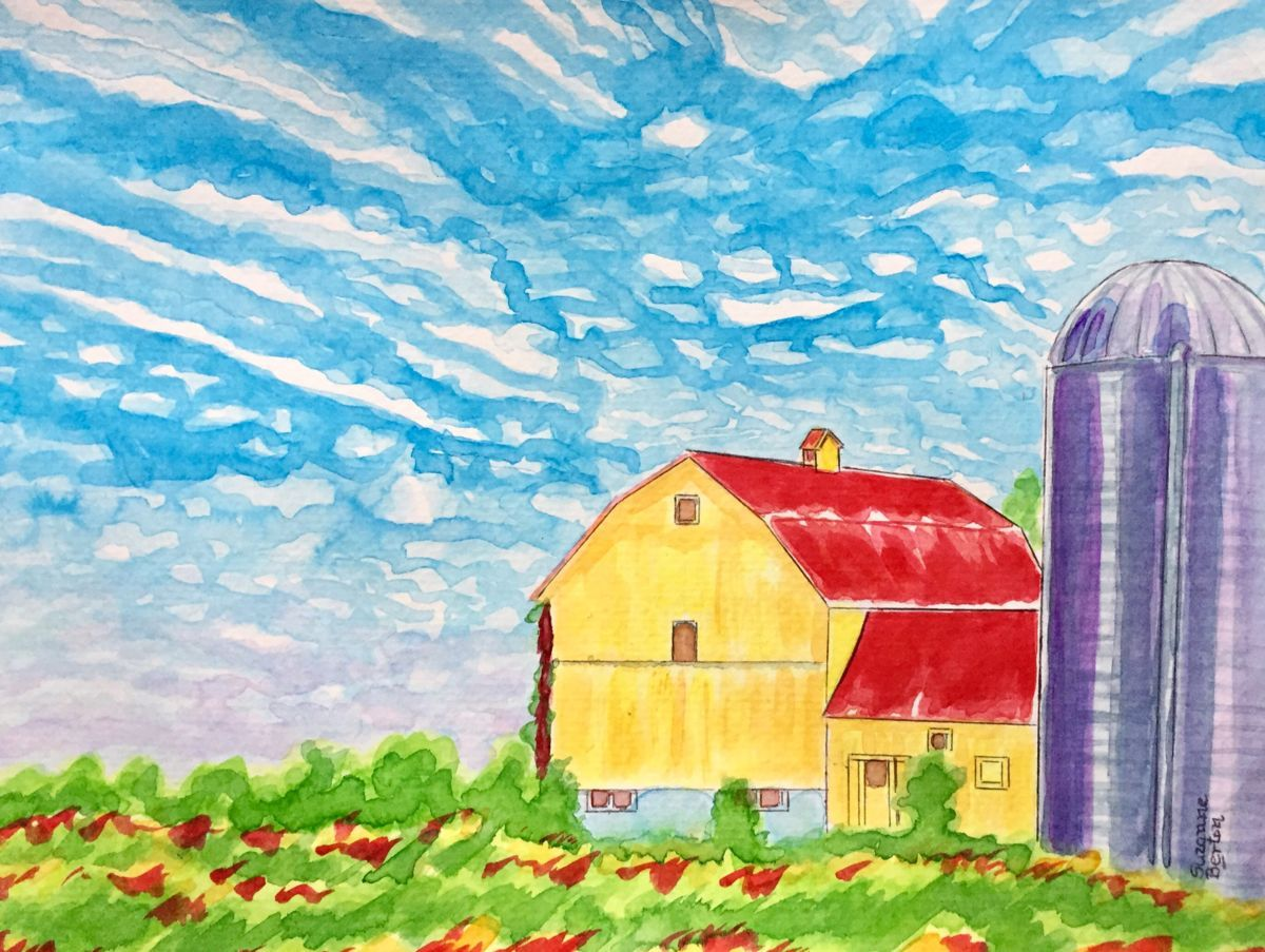 Farm - Yellow Barn with Silo Canada - Painting, 9x12 in ...