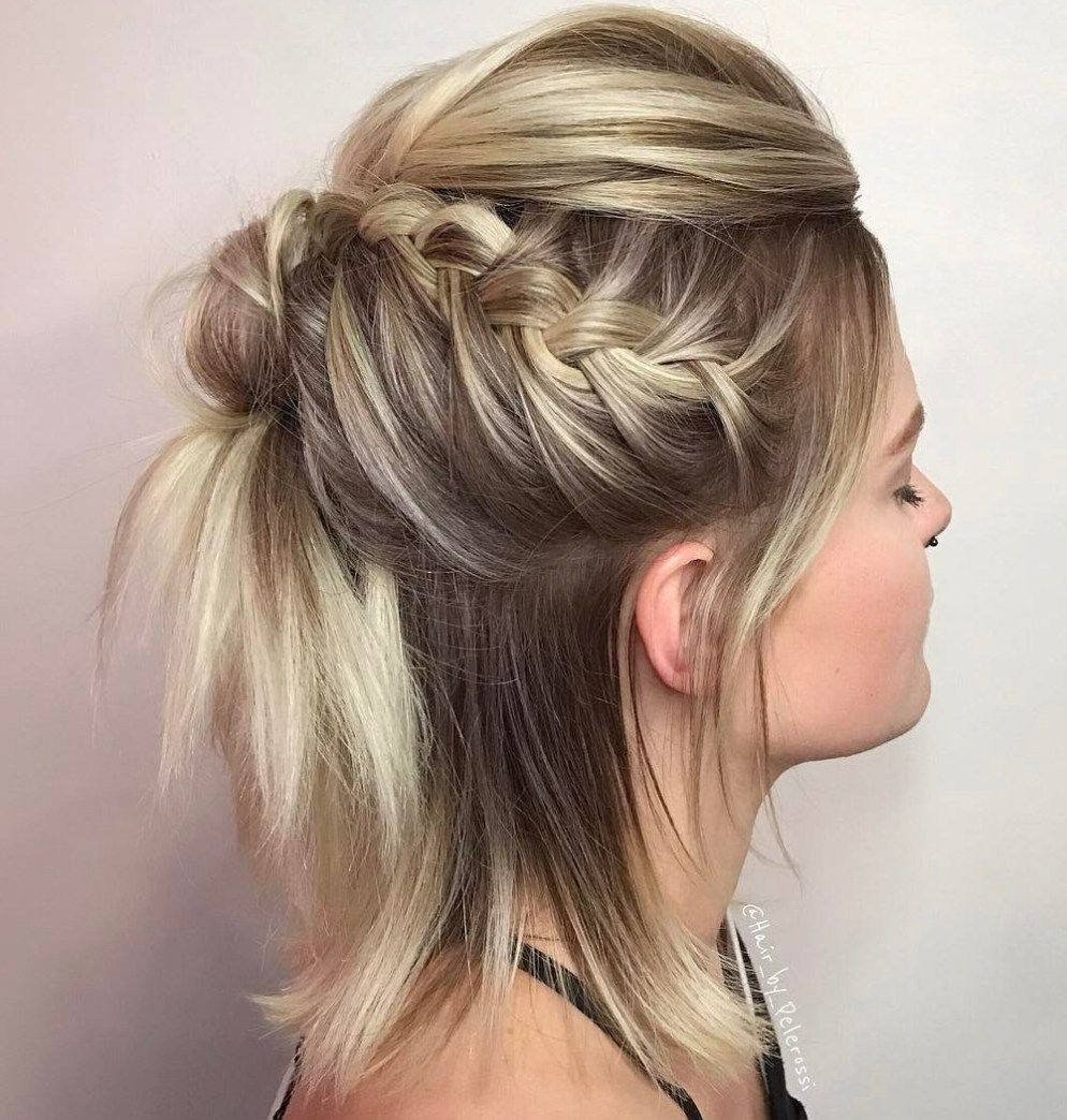 40 Gorgeous Braided Hairstyles For Short Hair Braids For Short Hair Short Hair Updo Braided Half Updo
