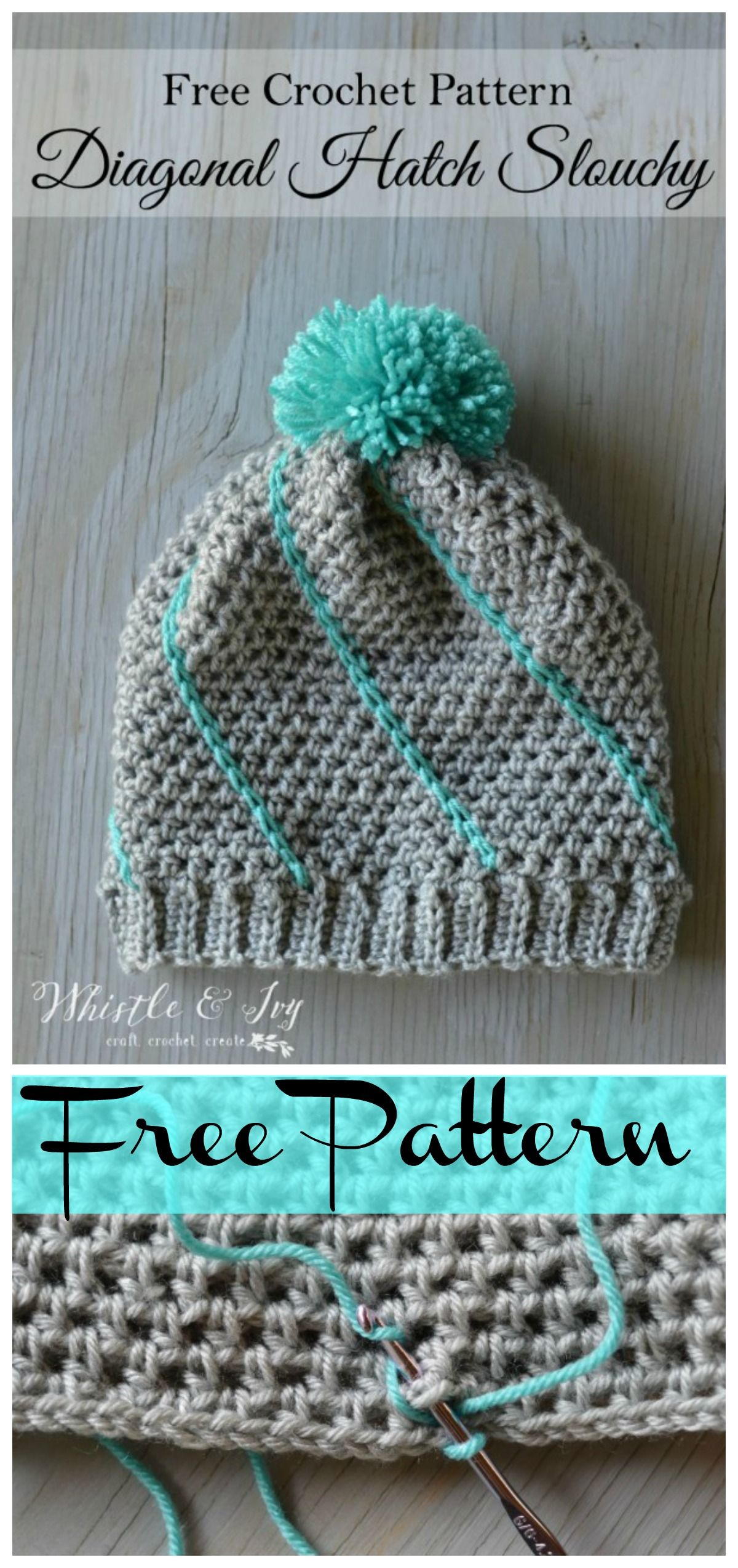 Easy Diagonal Hatch Slouchy Hat Free Crochet Pattern   Gorros ...