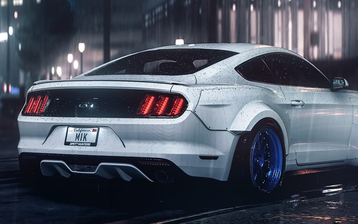 Download Wallpapers Ford Mustang Gt Rain Tuning Night American Cars Ford Besthqwallpapers Com In 2021 Ford Mustang Wallpaper Mustang Wallpaper Ford Mustang Gt