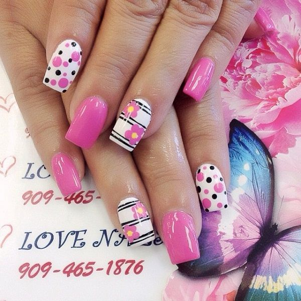 65 lovely Pink Nail Art Ideas - nenuno creative Diseños de uñas - modelos de uas
