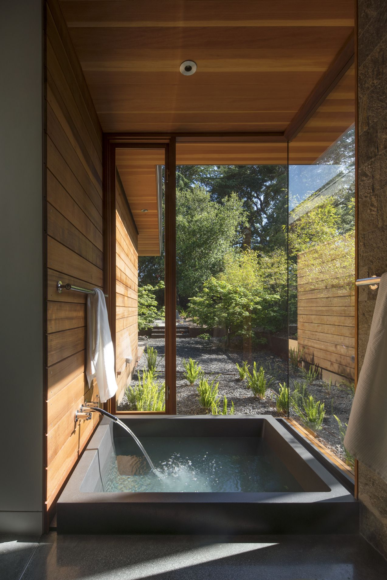 An Onsen, Or Japanese Soaking Tub, With A Private Garden Abuts The Master  Suite