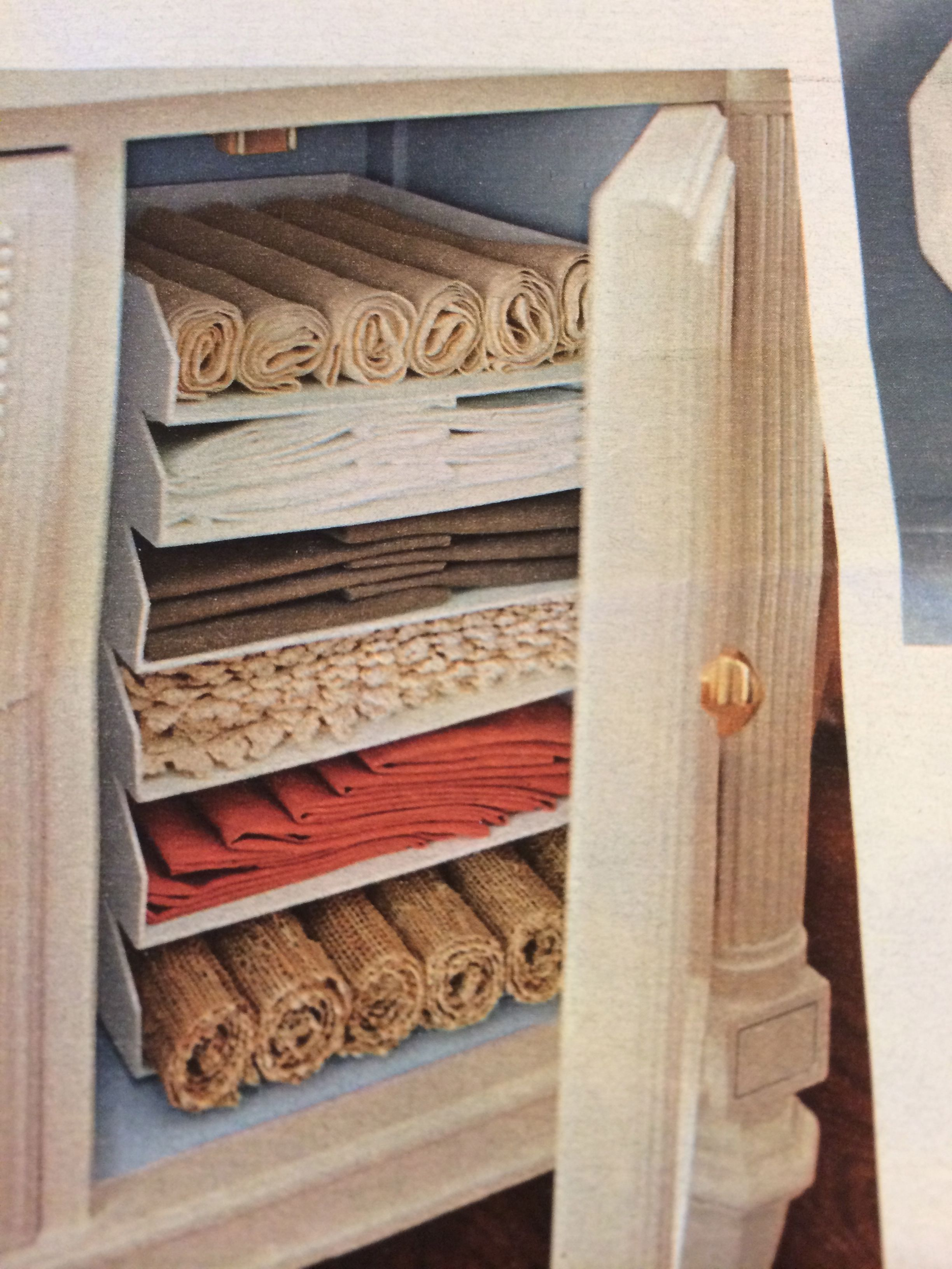 Napkins And Placemat Storage In 2019 Linen Storage