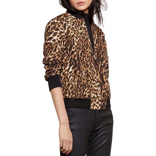 Lauren Ralph Lauren Leopard Print Bomber Jacket ($198) ❤ liked on Polyvore  featuring outerwear