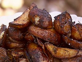 Balsamic-Baked Onions and Potatoes with Roast Pork