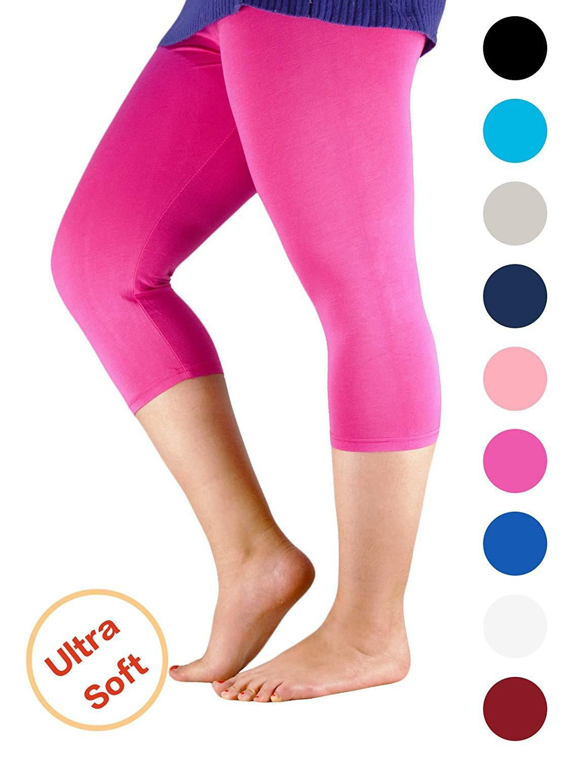 b5ceb254db4cde Premium Soft Light Comfy Fit Bamboo Capri Pants Under Dress Leggings for Women  Regular and Plus Size at Amazon Womens Clothing store, Amazon Affiliate  link.