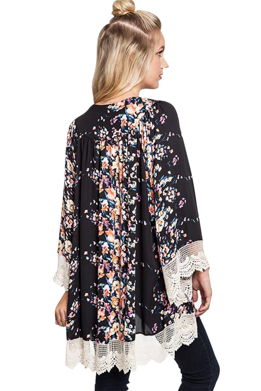 Vintage Bohemian Flower Lace Trim Shawl Cardigan Chiffon Kimono ...