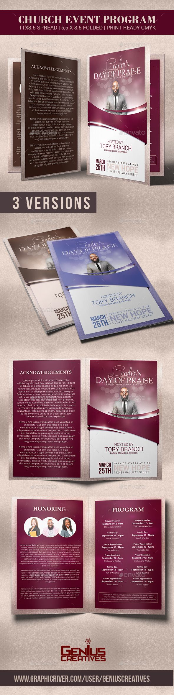LeaderS Day Of Praise Church Program Template  Program Template