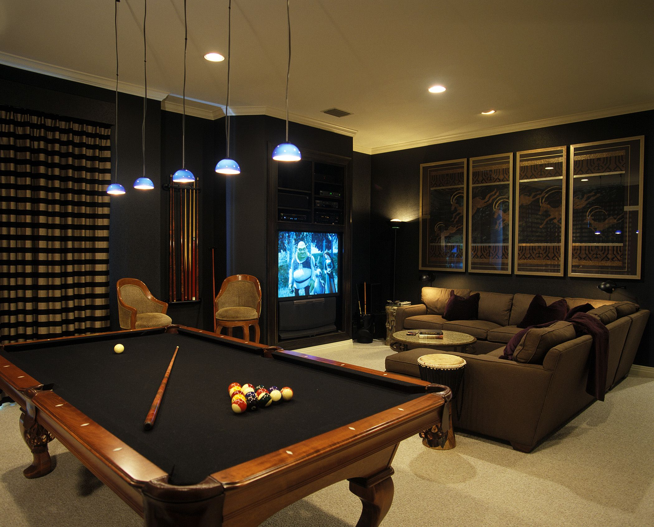 Dark media room with pool table more media pinterest for Small pool table room ideas