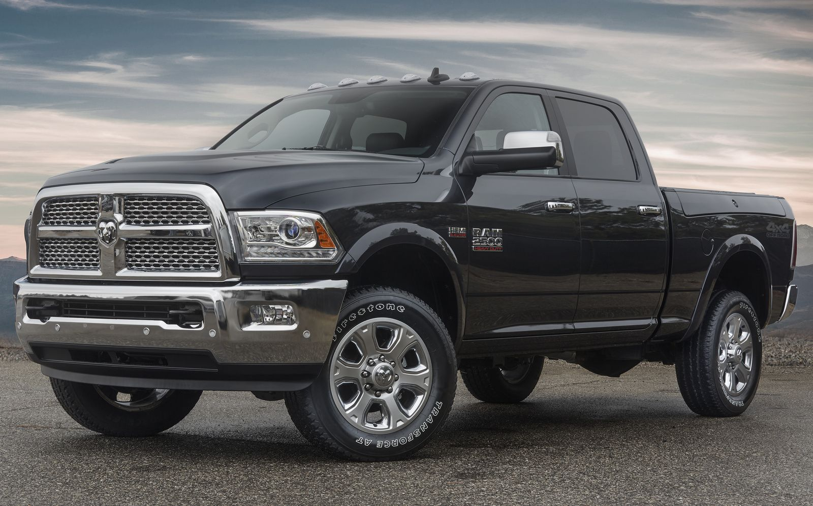 As seen here a new off road package is coming to the ram 2500 in 2017 that includes oversized front tow hooks aggressive firestone all terrain tires