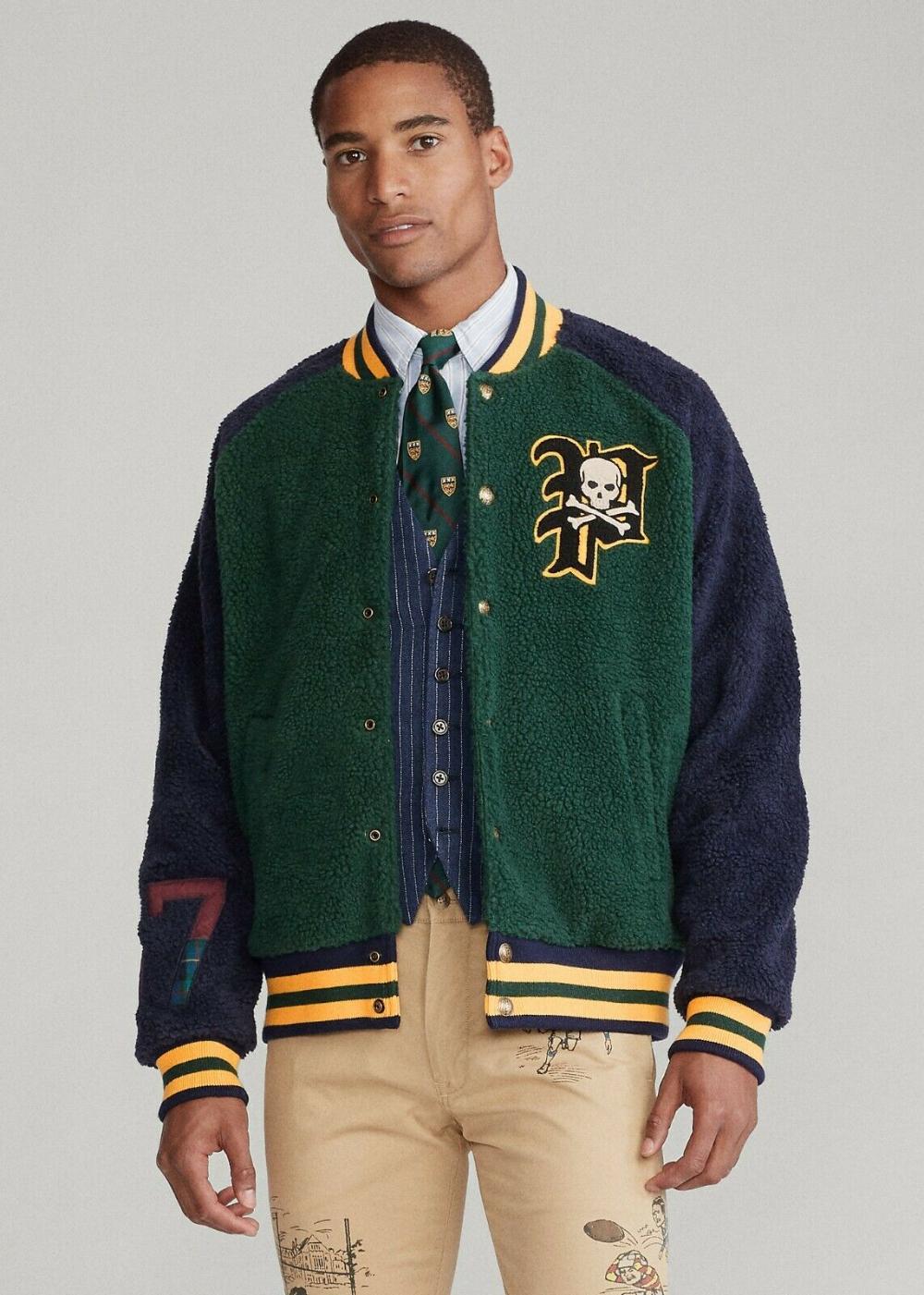 Polo Ralph Lauren Vintage Varsity Letterman Jacket in Navy