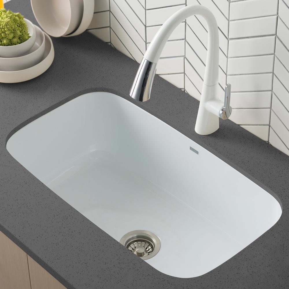 Kraus Pintura Undermount Enamel Steel 31 In Single Bowl Kitchen Sink In White Keu14white The Home Depot Single Bowl Kitchen Sink Sink Best Kitchen Sinks