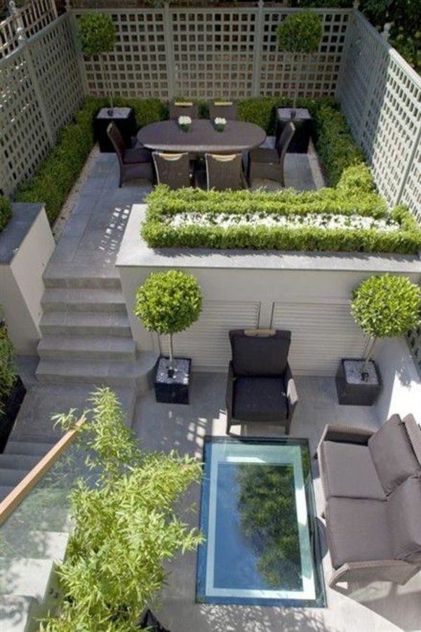 garten design klein raum jacuzzi esstisch sofa dekoration | tuin,