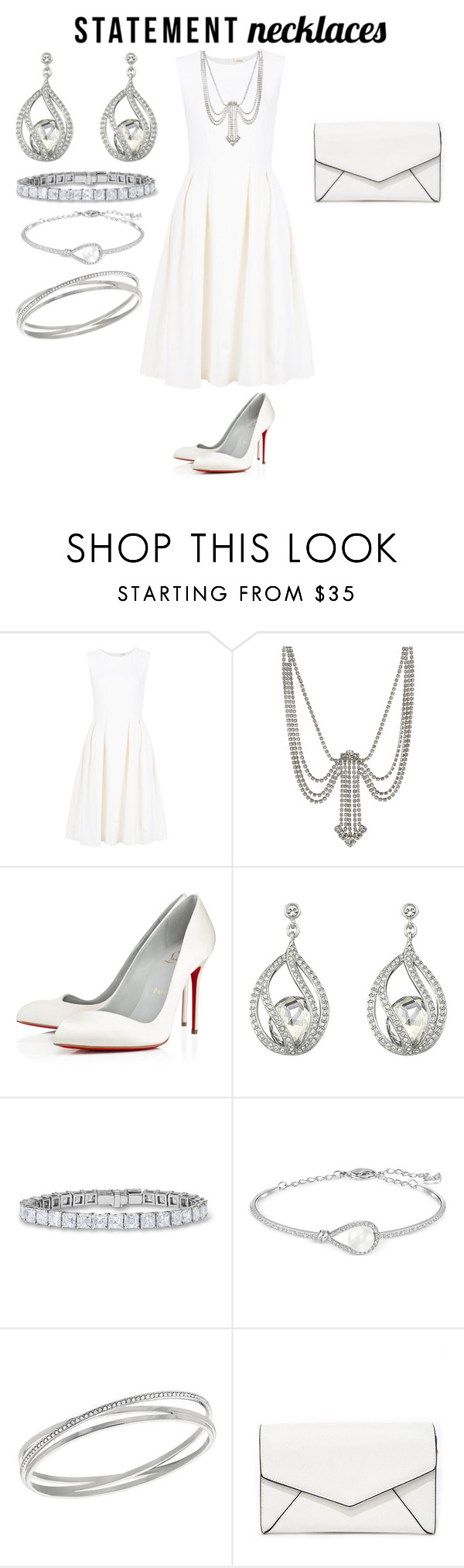 """Statement Necklaces"" by tessa-moon on Polyvore featuring ADAM, Marc Jacobs, Christian Louboutin, Swarovski, LULUS and statementnecklaces"