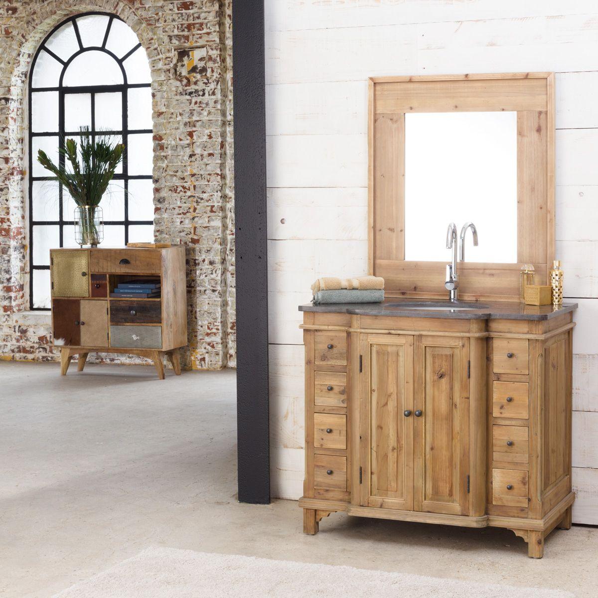 Petit Meuble Vasque Salle De Bain meuble salle de bain bois massif 1 vasque 2 portes 8 petits