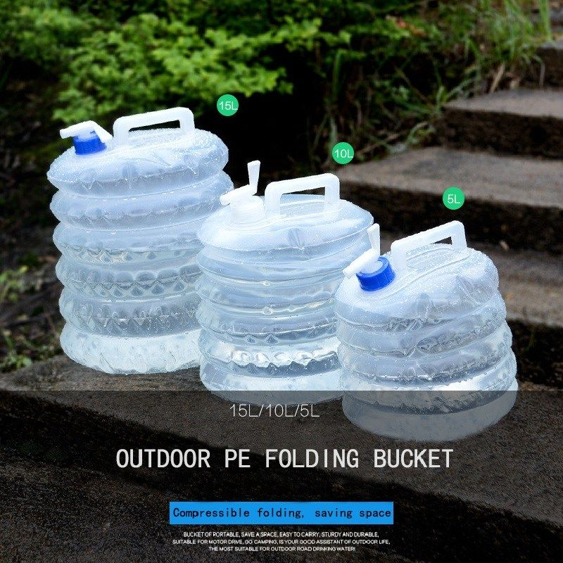 Plastic Bottle Folding Water Bucket Outdoor Collapsible Camping Water Bucket