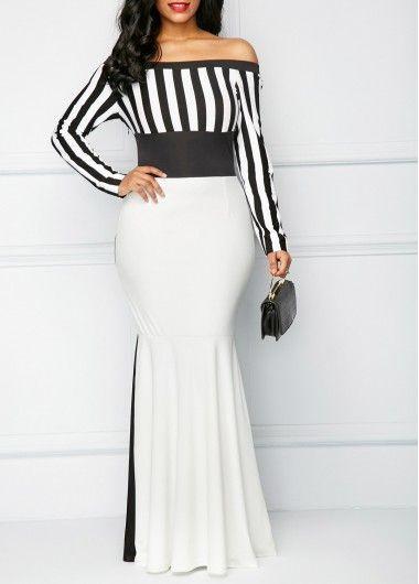 c719e847663 Striped Long Sleeve Bardot Mermaid Dress
